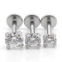 "18g 2-4mm PRONG SET CZ GEM 1/4"" Cartilage Ear Tragus Jewelry Forward HELIX NEW"