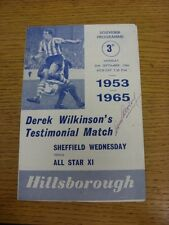 26/09/1966 Sheffield Wednesday v All Star XI -Banks, Coldwell, Shaw (Graham), He
