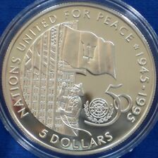 Barbados 5 dollars silver proof 1995 United Nations 50th Anniversary
