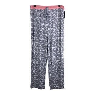 NEW Rene Rofe Sleepwear Women's Pajama Lounge Pants Floral gray Bottom Size 1X