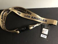 Los Angeles LA Rams Logo NFL Football Lanyard Gold Keychain Key Strap With Tag
