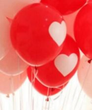 10x Red Backgd Heart Latex Balloons Inflatable Round Wedding Anniversary Balloon