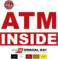 "ATM Inside DIE CUT Vinyl Decal Sticker Sign for Glass Window Machine Store 5"""