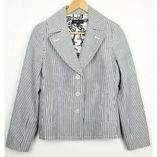 Talbots womens blazer size 8 blue white striped collared button down cotton