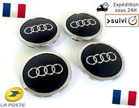 4x Cache Moyeu Centre Roue Enjoliveur Embleme Jante Logo insigne Audi 69MM Noir