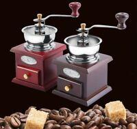 Manual Coffee Bean Grinder Burr Mill Open Steel Bowl Wood Base Vintage Retro