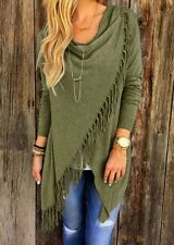 Women's Irregular Tassel Knitted Cardigan Loose Sweater Jacket Poncho Coat Tops