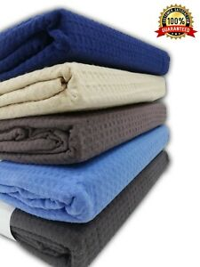 100% Cotton Bed Throw Waffle Weave Sofa Cover Blanket Soft Breathable Bedcover