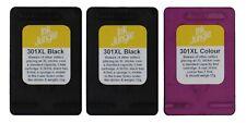 2x Refilled HP 301XL Black & 1x Colour Ink Cartridge For DeskJet 2540 Printer