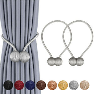 2Pcs Curtain Tie Backs Magnetic Ball Buckle Tiebacks Clips Holdbacks Home Decor