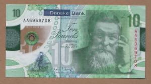 DANSKE BANK  POLYMER £10  PREFIX AA 6969708 FREEPOST RECORDED UK NORTHERN BANK