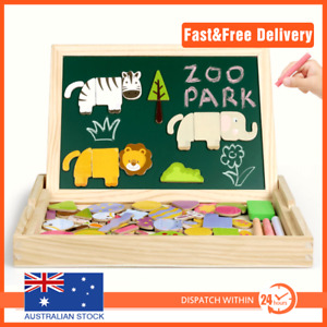 Wooden Magnet Whiteboard Multicolor Jigsaw Puzzle Kids Toy Games Animals