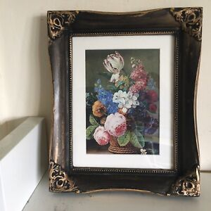 """Vintage/antique Style Floral Picture In Black And Gold Ornate Frame 11 X 9"""""""