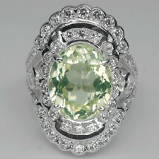 BREATHTAKING! GREEN PERIDOT & WHITE SAPPHIRE STERLING 925 SILVER RING SIZE 6.25