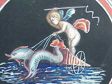 #494 ANTIQUE MINIATURE ITALIAN WATERCOLOR PAINTING ANGEL DOLPHIN CHARIOT SIGNED