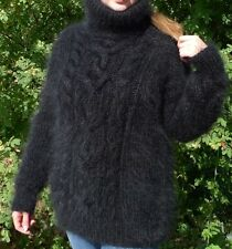 Luxury Black  Longhair mohair sweater Pullover Fuzzy Cables M L by LanaKnittings