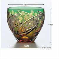 Edo kiriko Cut Glass Cup tumbler Sake Japanese Traditional New Green