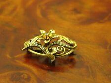 8kt 333 Gelbgold Art-Deco Brosche mit Diamant & Saatperlen Besatz / 3,1g