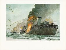 "1976 Marine Color Plate ""Ship That Saved Malta"" Chris Mayger WAR SHIP WARSHIP"