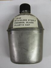 WW2 US Army Military Stainless Steel Canteen 1943 Nice BLACK CAP