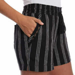 Briggs Women's Linen Blend Pull-On Shorts With Pockets ,Black XL