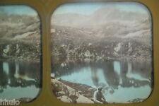 STA453 Lac Barèges Pyrénées Montagne STEREO photo albumen transparente colorisé