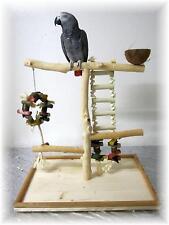 Papageienspielzeug Tischfreisitz aus geschältem Buchenholz, MIT SPIELZEUG