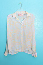 Jaclyn Smith Shirt Sz 10 Pastel Swirl Pearly Button Up Silky Thin Long Sleeve