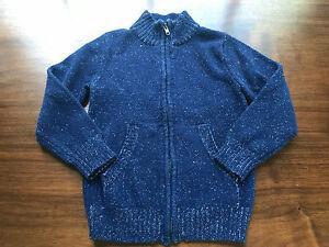 Gymboree Boys Sweater Size 4 XS EXCELLENT! Blue Marled Zipper Mock Neck