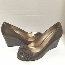 Antonio Melani Taupe Patent Leather Wedge Shoes 10