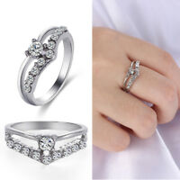 Glaring 925 Sterling Silver Multi-drill Diamonds Ring Wedding Engagement Rings~