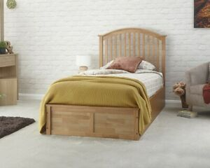 3FT Single Curved Spindled Headboard Oak Wooden Ottoman Bed 99p No Reserve