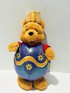 "Winnie The Pooh Christmas Ornament 14"" Plush Stuffed Animal Purple Gold"