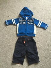 BABY GAP BOYS KNITTED BLUE CARDIGAN JACKET AND NAVY TROUSERS AGE 3-6 MONTHS