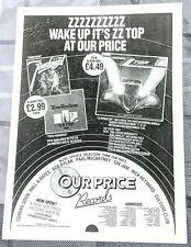 Zz Top / Billy Gibbons / 1983 Eliminator / Fandango / Tres Lp Magazine Print Ad
