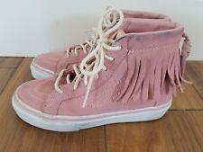 VANS Moc Fringe SK8 Hi Sneakers Pink Suede YOUTH GIRLS SZ 1 Lace-Up