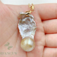 17-41mm Huge Purple Baroque Pearl Pendant 18 inches Necklace South Sea REAL
