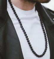 Mens Beads Necklace Black Onyx/Matte Gemstone Healing Stone Chakra Free Bracelet