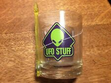 UFO STUFF SHOT GLASS  ALIEN WITH COCKTAIL STIRRER  STILL WRAPPED IN PLASTIC NEW