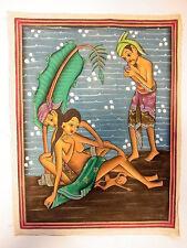 alt Motiv Malerei Ölgemälde Asiatika Geburt Akt Erotika