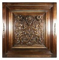 Opulent Hand Carved Antique Cabinet Door, Plaque, Neo-Renaissance Style, Figural
