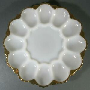 Vintage/retro egg platter milk glass gold/gilt -12 devilled/curried eggs plate