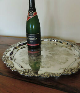 Large vintage HECWORTH silver-plate salver - tray 42 cm wide