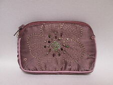 Purple Flower Sparkly Sequin Bead Money Coin Purse Credit Card Wallet #1F12