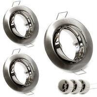 LED Einbaustrahler Rund Nickel Gebürstet Silber 3er SET Schwenkbar Einbaurahmen