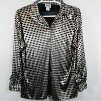 Orare Silky Shiny Silver Black Liquid Satin Stretch Blouse Size M Medium Costume