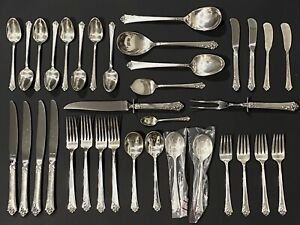 Oneida Damask Rose Heirloom Sterling Silverware Service for 6 - 45 Pieces