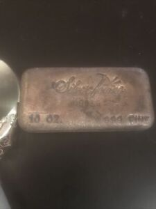 Vintage SilverTowne 999 Fine Pour 10oz Silver Bar Serial 09016 Beautifully Aged