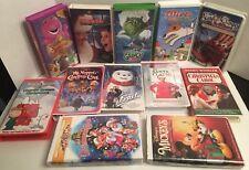12 VTG Christmas Vhs Classics The Grinch, Barney, Jackfrost, Mickeys Christmas +
