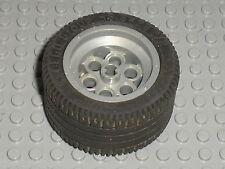Roue LEGO TECHNIC PearlLtGray Wheel 49.6 x 28 VR ref 6595 +tyre 6594 / 3809 3808